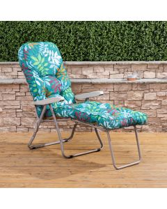 Sun Lounger - Cappuccino Frame with Classic Alexandra Green Leaf Cushion