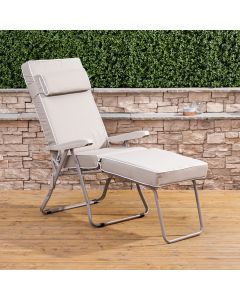 Sun Lounger - Cappuccino Frame with Luxury Taupe Cushion
