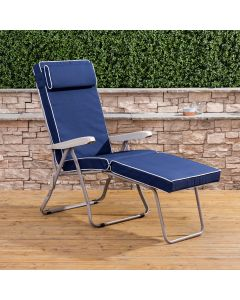 Sun Lounger - Cappuccino Frame with Luxury Navy Blue Cushion