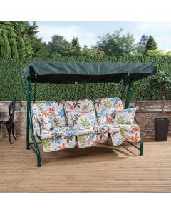 3 Seater Green Swing Seat with Classic Cushions