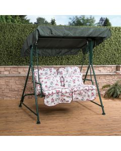 2 Seater Swing Seat with Classic Cushions (Green Frame)