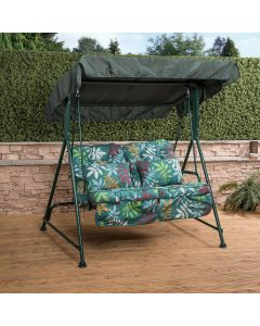 Mosca 2 Seater Swing Seat - Green Frame with Classic Alexandra Green Leaf Cushions