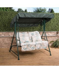 Mosca 2 Seater Swing Seat - Green Frame with Classic Francesca Beige Cushions