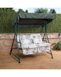 Mosca 2 Seater Swing Seat - Green Frame with Classic Francesca Grey Cushions