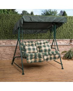 Mosca 2 Seater Swing Seat - Green Frame with Classic Green Check Cushions