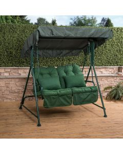 Mosca 2 Seater Swing Seat - Green Frame with Classic Green Cushions