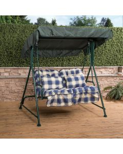 Mosca 2 Seater Swing Seat - Green Frame with Classic Blue Check Cushions