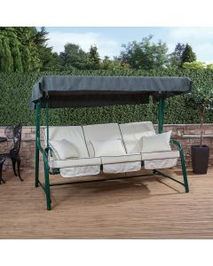 3 Seater Reclining Green Swing Seat with Luxury Cushions