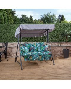 Mosca 2 Seater Swing Seat - Charcoal Frame with Classic Alexandra Green Leaf Cushions