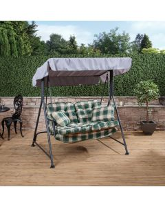 Mosca 2 Seater Swing Seat - Charcoal Frame with Classic Green Check Cushions