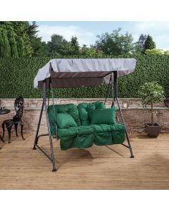 Mosca 2 Seater Swing Seat - Charcoal Frame with Classic Green Cushions