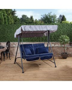 Mosca 2 Seater Swing Seat - Charcoal Frame with Luxury Navy Blue Cushions
