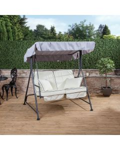Mosca 2 Seater Swing Seat - Charcoal Frame with Luxury Cream Cushions