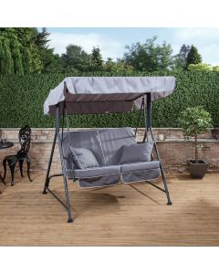 Mosca 2 Seater Swing Seat - Charcoal Frame with Luxury Grey Cushions