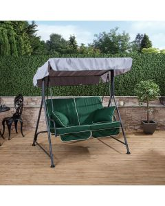 Mosca 2 Seater Swing Seat - Charcoal Frame with Luxury Green Cushions