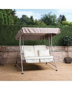 Mosca 2 Seater Swing Seat - Natural Frame with Luxury Cream Cushions