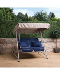 Mosca 2 Seater Swing Seat - Natural Frame with Luxury Navy Blue Cushions