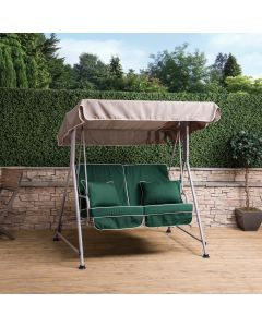 Mosca 2 Seater Swing Seat - Natural Frame with Luxury Green Cushions