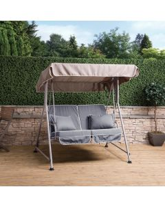 Mosca 2 Seater Swing Seat - Natural Frame with Luxury Grey Cushions