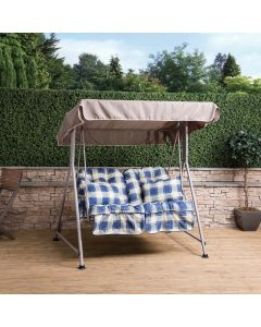 Mosca 2 Seater Swing Seat - Natural Frame with Classic Blue Check Cushions