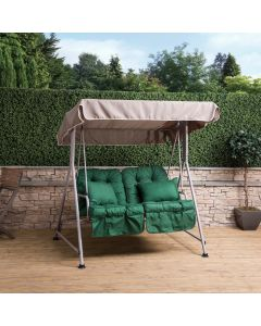 Mosca 2 Seater Swing Seat - Natural Frame with Classic Green Cushions