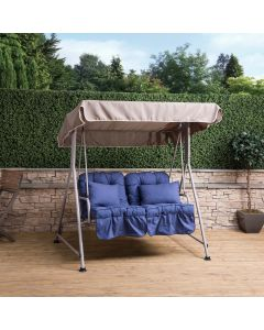 Mosca 2 Seater Swing Seat - Natural Frame with Classic Blue Cushions
