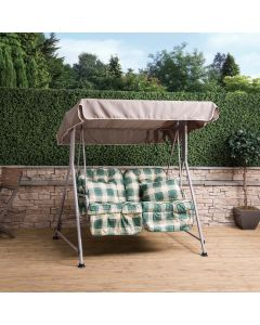 Mosca 2 Seater Swing Seat - Natural Frame with Classic Green Check Cushions