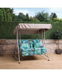 Mosca 2 Seater Swing Seat - Natural Frame with Classic Alexandra Green Cushions
