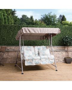 Mosca 2 Seater Swing Seat - Natural Frame with Classic Francesca Beige Cushions
