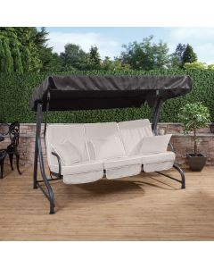 3 Seater Charcoal Swing Seat with Luxury Cushions