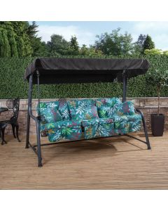 Turin 3 Seater Reclining Swing Seat - Charcoal Frame with Classic Alexandra Green Leaf Cushions