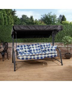Turin 3 Seater Reclining Swing Seat - Charcoal Frame with Classic Blue Check Cushions