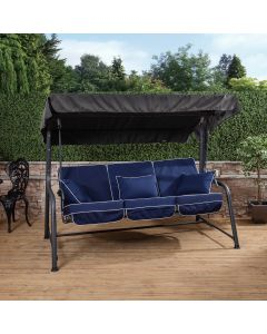 Turin 3 Seater Reclining Swing Seat - Charcoal Frame with Luxury Navy Blue Cushions