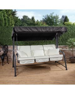 Turin 3 Seater Reclining Swing Seat - Charcoal Frame with Luxury Cream Cushions