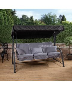Turin 3 Seater Reclining Swing Seat - Charcoal Frame with Luxury Grey Cushions