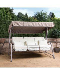 Turin 3 Seater Reclining Swing Seat - Natural Frame with Luxury Cream Cushions