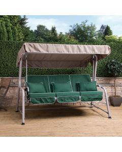 Turin 3 Seater Reclining Swing Seat - Natural Frame with Luxury Green Cushions