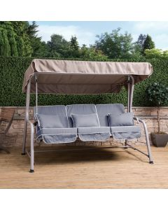 Turin 3 Seater Reclining Swing Seat - Natural Frame with Luxury Grey Cushions