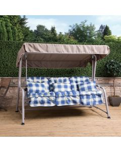 Turin 3 Seater Reclining Swing Seat - Natural Frame with Blue Check Cushions