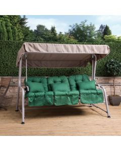 Turin 3 Seater Reclining Swing Seat - Natural Frame with Green Cushions