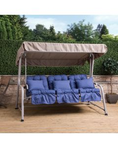 Turin 3 Seater Reclining Swing Seat - Natural Frame with Blue Cushions