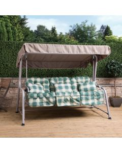 Turin 3 Seater Reclining Swing Seat - Natural Frame with Green Check Cushions