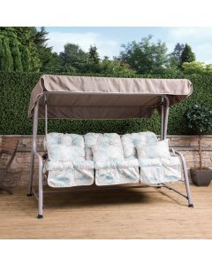 Turin 3 Seater Reclining Swing Seat - Natural Frame with Francesca Beige Cushions