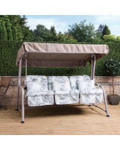 Turin 3 Seater Reclining Swing Seat - Natural Frame with Francesca Grey Cushions