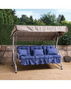 Roma 3 Seater Swing Seat - Natural Frame with Blue Cushions