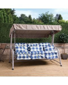 Roma 3 Seater Swing Seat - Natural Frame with Blue Check Cushions