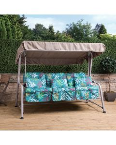 Roma 3 Seater Swing Seat - Natural Frame with Classic Alexandra Green Leaf Cushions
