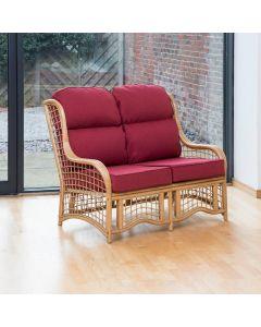 Bali 2 Seater Cane and Square Lattice Conservatory Sofa - Premium Chilli