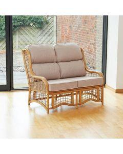 Bali 2 Seater Cane and Square Lattice Conservatory Sofa - Premium Linen