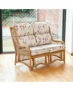 Bali 2 Seater Cane and Square Lattice Conservatory Sofa - Blossom Chintz